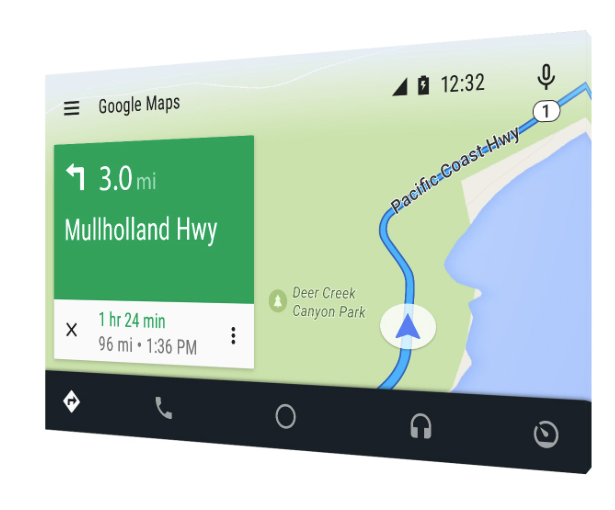 The Android Auto, a software system for cars, makes it easier for drivers to search using voice.