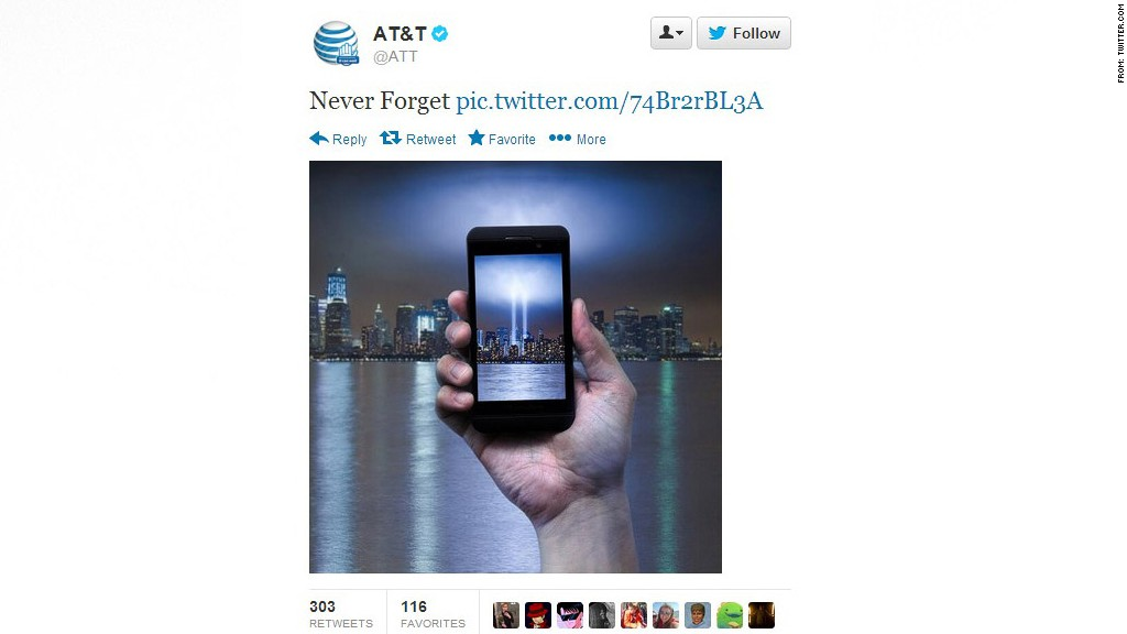 A social media post from AT&T involving 9/11.