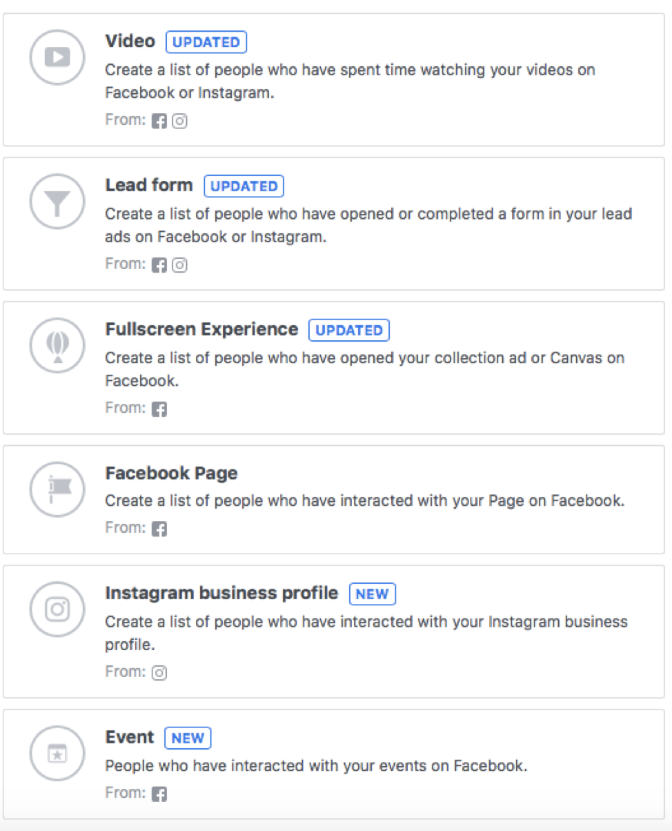 An image showing the retargeting tools that are available on Facebook ads.