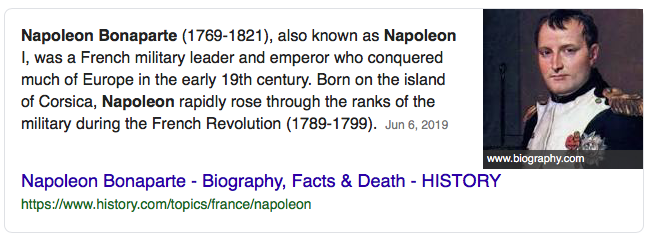 Image of a search snippet for Napoleon Bonaparte