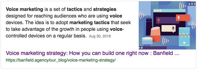 Image for a featured snippet for a search on voice marketing strategy