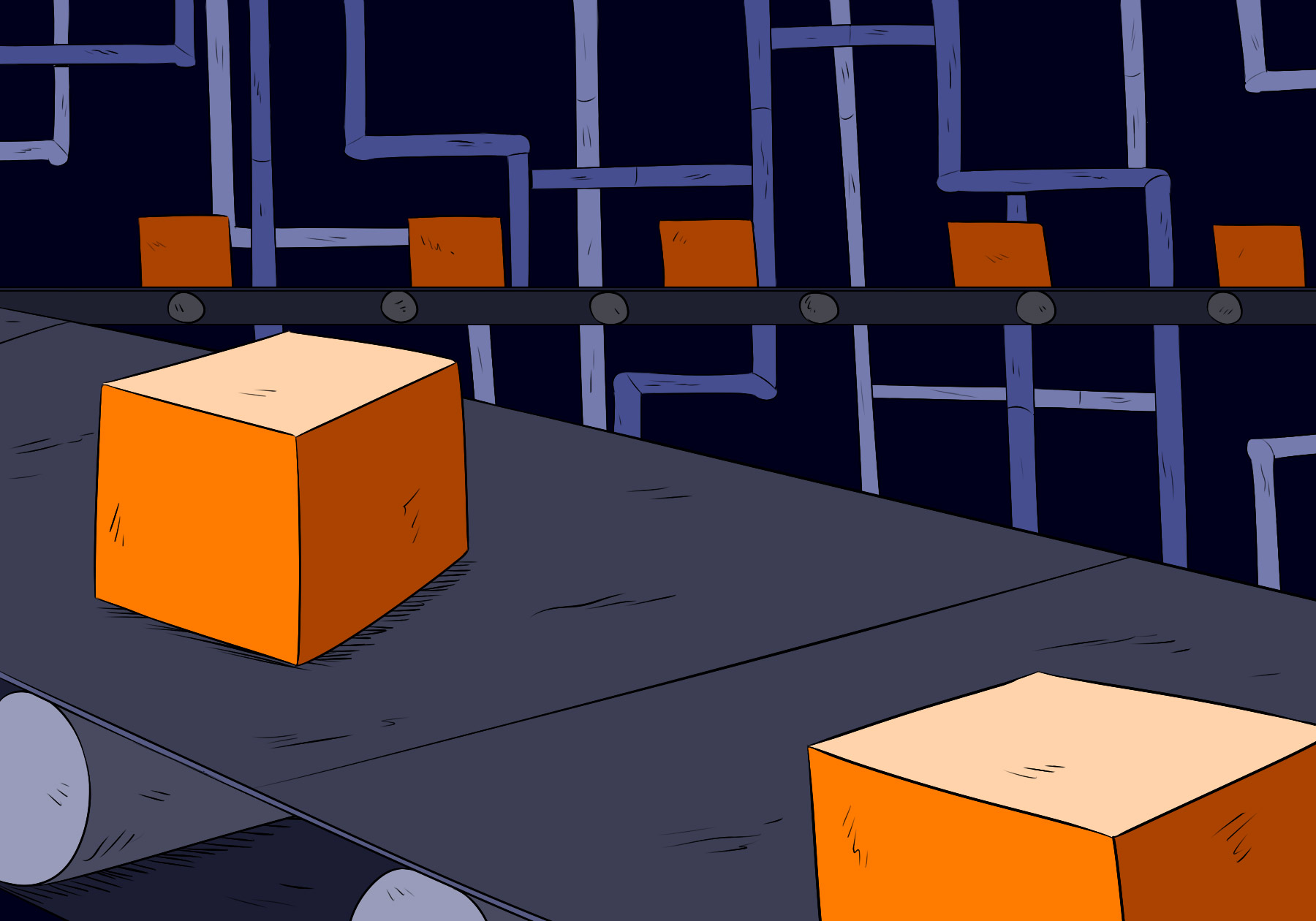 Illustration of boxes on a conveyor belt for an article on why websites frequently look the same